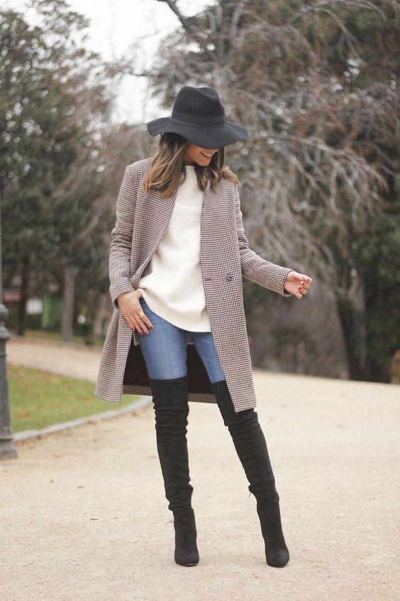 outfit casual invierno sombrero