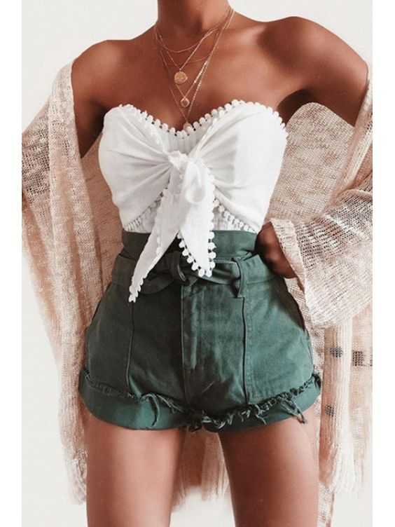 outfit casual short verde
