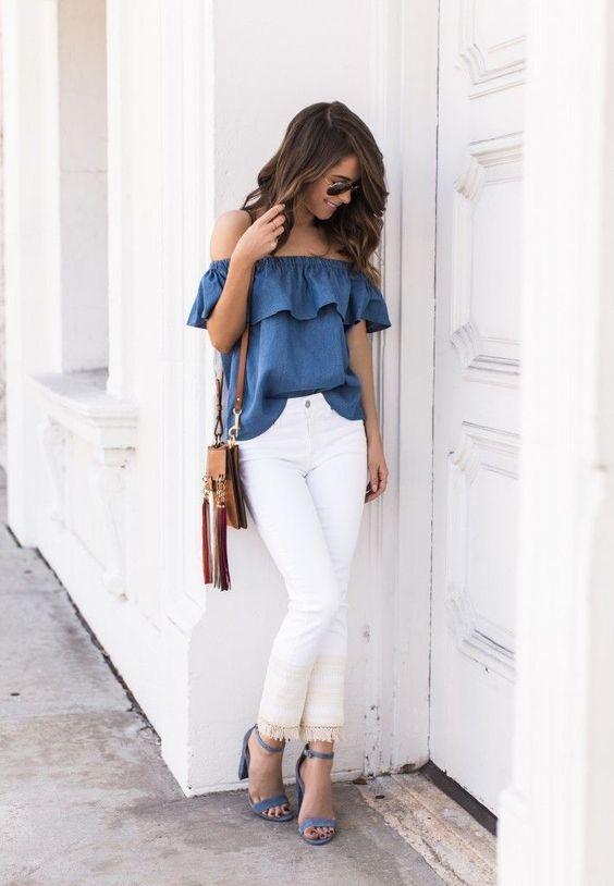 outfit con pantalón blanco 2021