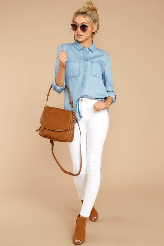 outfit con pantalón blanco mezclilla