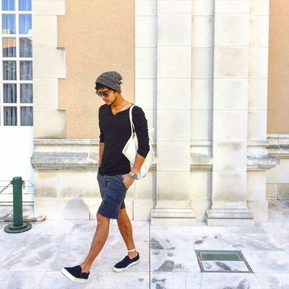 outfit con short negro hombre
