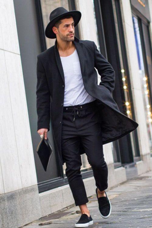 outfit con sombrero negro hombre