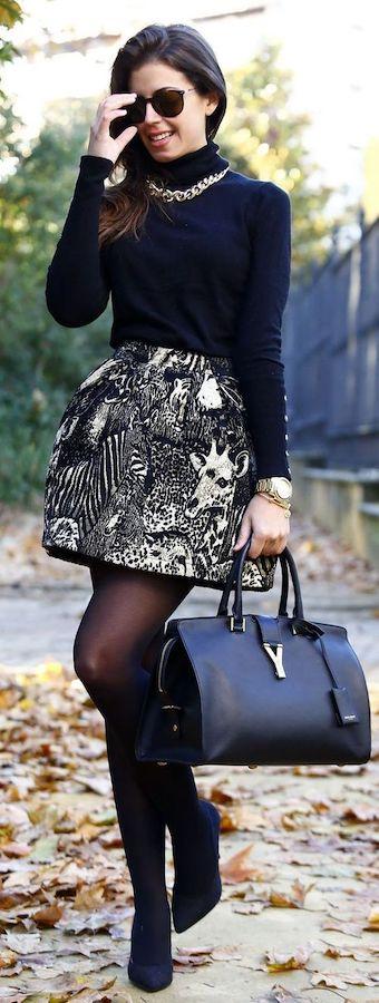 outfit negro falda polera
