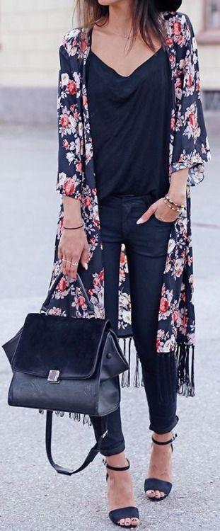 outfit negro kimono