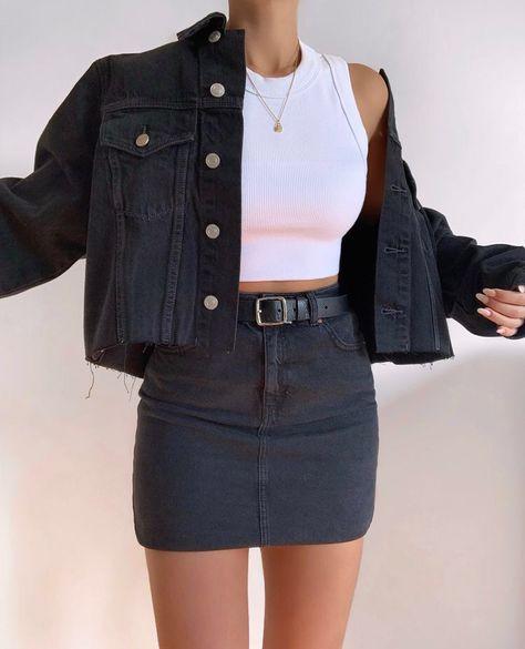 outfits tumblr falda negra