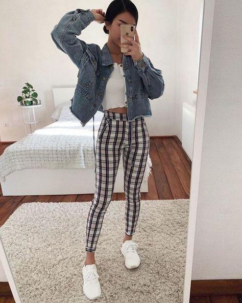 outfits tumblr pantalon cuadros