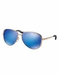 Gafas de sol oro rosa con espejo azul