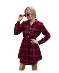 vestido rojo camisero de manga larga con cuello en v