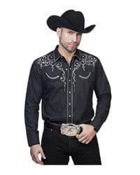 camisa vaquera negra con bordado plateado