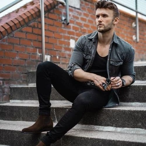 outfit rockero para hombre con chamarra de mezclilla