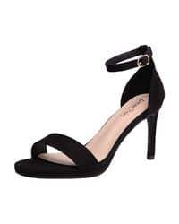 sandalias negras de tacon